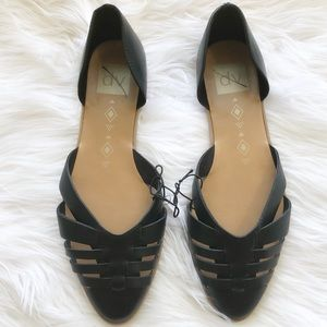 {DV} Black Strappy Pointed Toe D'Orsay Flats